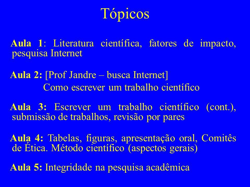 Tópicos Aula 1: Literatura científica, fatores de impacto, pesquisa Internet. Aula 2: [Prof Jandre – busca Internet]